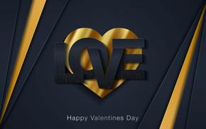 Картинка любовь, синий, желтый, фон, надпись, love, день валентина, сердечко, hearts