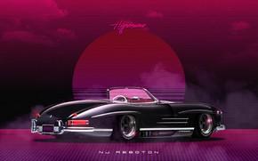 Картинка Roadster, Mercedes-Benz, Авто, Музыка, Машина, Стиль, Mercedes, Music, 80s, Style, Neon, Illustration, 300SL, Mercedes-Benz 300SL, …