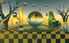 Картинка шары, шахматная, зелёный цвет
