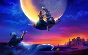 Картинка Disney, Fantasy, Clouds, Tiger, the, Night, Palace, Family, Aladdin, Will Smith, year, Castle, Magic, Princess, ...