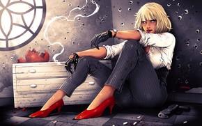 Картинка девушка, сидит, Взрывная блондинка, дыры от пуль