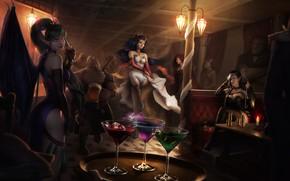 Обои девушка, эльф, крылья, платье, коктейль, маг, вампир, казино, Evelyn, art, Lana Solaris, Adalia