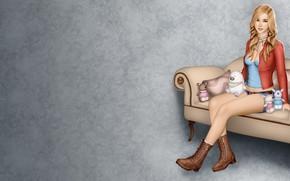 Картинка девушка, фон, диван, игрушки