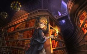 Картинка девушка, свеча, библиотека, люстры, в замке