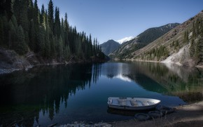 Картинка пейзаж, горы, природа, озеро, лодка, Казахстан, леса, берега, Тамара Андреева, Кольсай