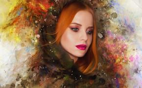 Картинка девушка, лицо, стиль, краски, портрет, обработка, макияж, арт, рыжая, мазки