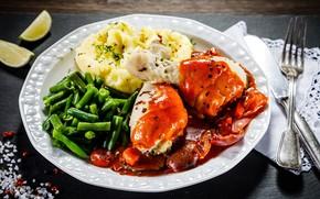Картинка курица, тарелка, овощи, соус