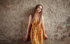 Картинка стена, волосы, Девушка, руки, платье, Oliver Gibbs
