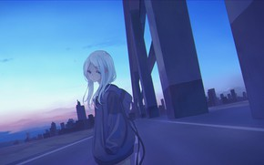 Картинка небо, девушка, мост, рассвет, меланхолия