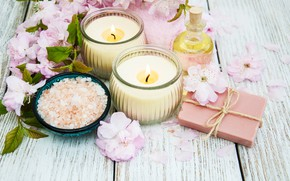 Картинка масло, ветка, свечи, сакура, мыло, спа, Olena Rudo