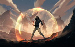 Картинка магия, парень, сфера, барьер