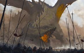 Картинка Дракон, Солдаты, Рыцари, Битва, Dragon, Крик, Арт, Art, Пики, Войны, Francesco Lorenzetti, by Francesco Lorenzetti, …