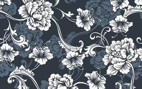 Картинка цветы, синий, фон, текстура