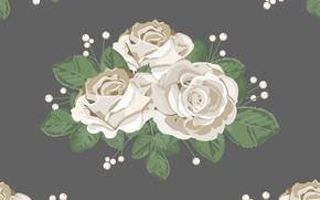 Картинка цветы, фон, узор, розы, белые, бутоны