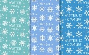Картинка зима, снежинки, фон, надпись, текстура