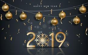 Картинка золото, Новый Год, цифры, golden, черный фон, black, balls, background, New Year, Happy, sparkle, 2019