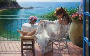 Картинка girl, dress, sea, landscape, art, flowers, barefoot, chair, painting, brunette, artist, table, sitting, white dress, …