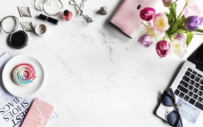 Картинка цветы, стиль, очки, тюльпаны, украшение, Flower, косметика, Notebook, Fashion, кошелек, Card