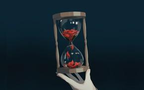 Картинка рука, серый фон, песочные часы, by Avogado6