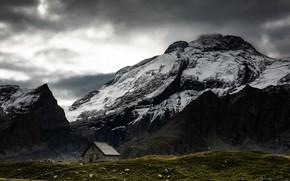 Картинка снег, горы, домик