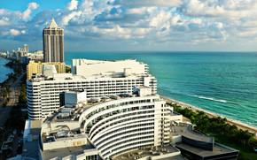 Картинка city, beach, tower, ocean, sunset, miami beach, buildings, miami
