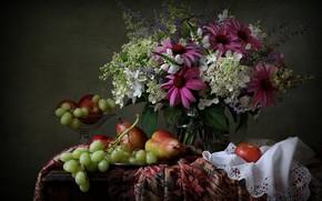 Картинка яблоко, букет, виноград, груша, натюрморт, гортензия, эхинацея