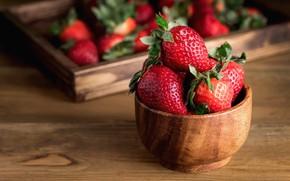 Картинка ягоды, доски, еда, клубника, миска, ящик