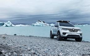 Картинка камни, берег, серебристый, льды, Renault, пикап, 2015, Alaskan Concept