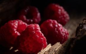 Картинка ягоды, малина, темный фон