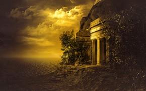 Картинка море, небо, солнце, облака, свет, деревья, пейзаж, закат, природа, рендеринг, берег, побережье, листва, здание, вечер, …