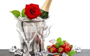 Картинка роза, бутылка, лёд, бокалы, клубника, шампанское