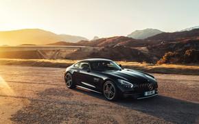 Обои закат, Mercedes-Benz, 2018, AMG, GT C