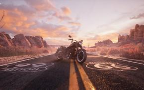 Картинка мотоцикл, David Baylis, Route 66 Harley, Автомобильная дорога