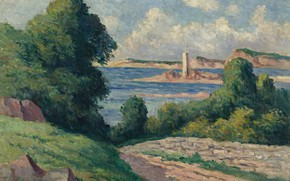 Картинка пейзаж, картина, Максимильен Люс, Maximilien Luce, Лиман в Триё