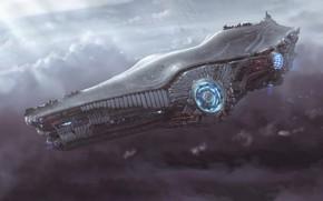 Картинка Облака, Полет, Корабль, Fantasy, Art, Космический Корабль, Фантастика, Spaceship, Vehicles, Science Fiction, Spacecraft, Dmitrii Ustinov, …