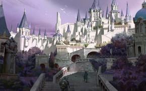 Картинка птицы, город, замок, воин, крепость