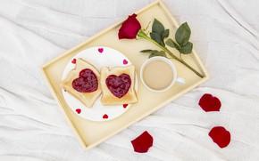 Картинка любовь, розы, завтрак, сердечки, love, romantic, hearts, coffee cup, valentine, breakfast, roses, чашка кофе