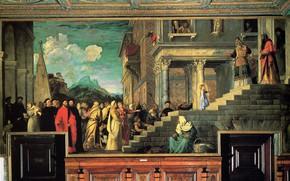 Картинка Titian Vecellio, Введение Девы Марии во храм, между 1534 и 1538