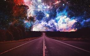 Картинка Sky, Road, Starry Sky