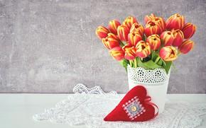 Картинка цветы, flowers, spring, red, букет, сердце, любовь, tulips, romantic, тюльпаны, valentine's day, colorful, love, beautiful