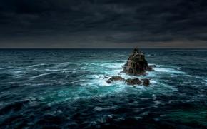 Картинка море, ночь, природа, скалы
