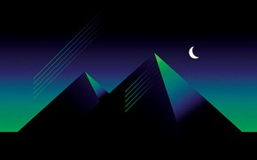 Картинка Минимализм, Стиль, Пирамиды, Пирамида, Фон, Style, Illustration, Месяц, Synth, Retrowave, Synthwave, New Retro Wave