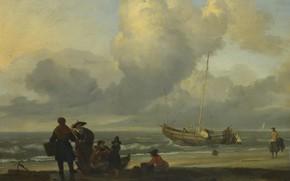 Картинка люди, лодка, картина, Людольф Бакхёйзен, Ludolf Bakhuizen, Пляжная Сцена с Рыбаками