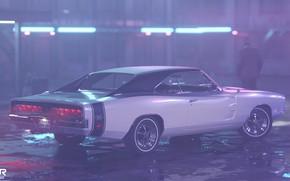 Картинка Авто, Ночь, Человек, Машина, Стиль, 1969, Car, Мужчина, Render, Neon, Dodge Charger, Рендеринг, Лужи, Мотель, …