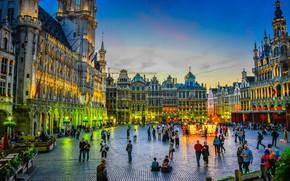 Картинка площадь, Бельгия, Брюссель, ратуша