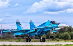 """Картинка взлёт, истребитель-бомбардировщик, СУ-34, сверхзвуковой, многофункциональный, поколение 4++, изделие «Т-10В», """"утёнок"""""""