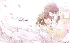 Картинка девушка, романтика, игра, аниме, лепестки, арт, парень, 100 Sleeping Princes and the Kingdom of Dreams