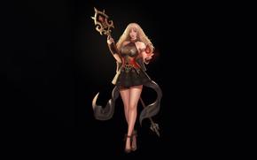 Картинка Girl, Fantasy, Art, Style, Magic, Minimalism, Wizard, Magic staff, Donghun Kim