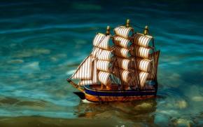 Картинка вода, парусник, кораблик, игрушечный