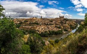 Картинка деревья, река, дома, панорама, Испания, Толедо, Spain, Toledo, Tagus River, Река Тахо